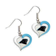 Carolina PANTHERS Swirl Heart Dangle LOGO Earrings