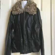 Girls Black Cherokee Faux Leather Jacket With Faux Fur Trim size L Large