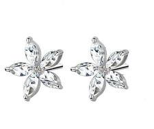 Rhodium Plated Clear CZ Flower Earrings
