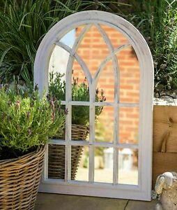 ExLarge Rustic White Window Style Arch Wall Mirror Garden Vintage Outdoor62x92cm