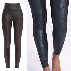SPANX Slim Black Faux Leather Quilted Leggings Shaping Pant Sz SMALL Biker Shiny