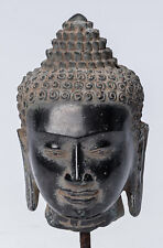 More details for antique khmer style mounted bronze bayon buddha head statue - 21cm/8