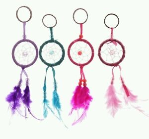 Dreamcatcher mini Keyring dream catcher key ring chain feather bag charm