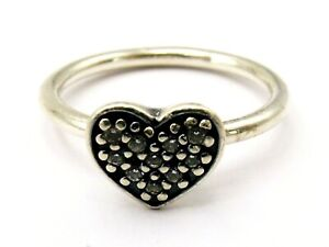 Sterling silver heart ring with cubic zirconias by Pandora  size K