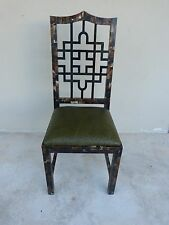 70'S CHINESE CHIPPENDALE TESSELLATED HORN CHAIR W OSTRICH LEATHER  KARL SPRINGER