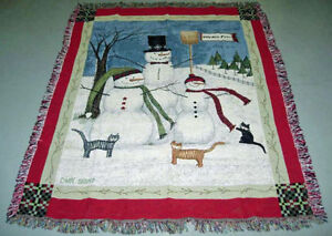 Winter Fun Snowmen Family Christmas Tapestry Afghan Throw ~ Artist, Cindy Shamp
