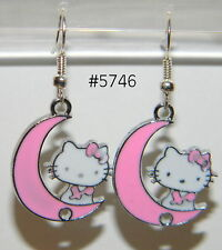 #5746 Pretty HELLO KITTY on Pink Moon Metal Charm Dangle Earrings
