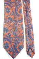 ROME Men's Silk Tie Made in Italy Red with a Blue Floral Pattern 3 inch Wide