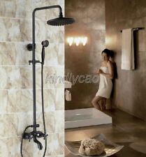 Black Oil Rubbed Brass Exposed Bathroom Rain Shower Faucet Set Mixer Tap Krs454