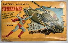 1958 Linemar Superman Fighting Tank w Original Box Working Battery Op Tin Rare