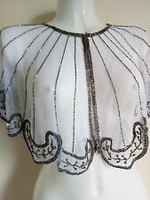 NEW SILVER SEQUIN PONCHO CROP SHRUG TOP WEDDING WHITE NIGHT PARTY  BOLERO SMART