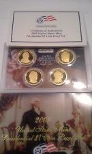 2009 US Mint Proof Presidential $1 Coin Set of 4 Golden Dollars with Box and COA