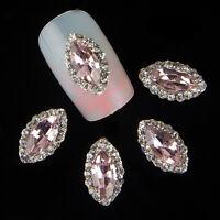 10PCS 3D Nail Art Tips Jewelry Decoration OVAL Pink Glitter Rhinestones Charm