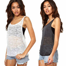 Women Sleeveless Loose Sport Vest Tank Sheer Tops T-shirt Tee Gym Fashion 1 Pc