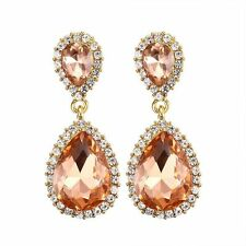Yellow Gold Filled Pear Cut Champagne Topaz Dangle Drop Stud Earrings Gift