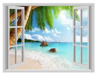 Huge DIY Beach Resort 3D Window Removable Wall Sticker Vinyl Decal Decor Mural