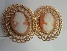 VINTAGE GOLD FILLED SHELL CAMEO EARRINGS SCREWBACKS  BEAUTIFUL