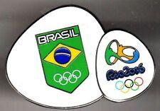 RIO 2016. OLYMPIC GAMES. NOC PIN. BRAZIL. FLAG IN SHIELD + LOGO