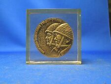 Victory of Zahal Medal of Heads of Moshe Dayan & Yitzhak Rabinin In Clear Resin
