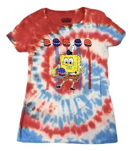 Spongebob Squarepants Juniors Tie Dye Shirt New XS, S, M, L, XL, 2XL, 3XL