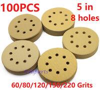 5in 60 80 120 150 220Grit Sanding Discs Orbital Sander paper Sheet Hook Loop Pad