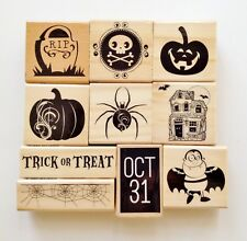 Halloween Wood Mounted Rubber Stamp Set of 10 by Craftsmart NEW Retired