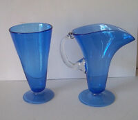 Vintage art glass pitcher pilsner? glass and tall tumbler blue signed dated!