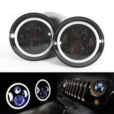 "7"" Round Halo Angle Eyes LED Headlights Pair Jeep 1997-2015 Wrangler JK LJ TJ CJ"