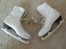 "Ladies ""American Athletic"" White Figure Ice Skates, Size 7 Women's German Blades"