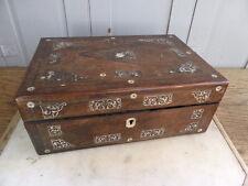 Antigua caja de escritura de madera con incrustaciones de madre de Perla Incrustación de pendiente
