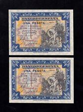 F.C. PAREJA CORRELATIVA 1 PESETA JUNIO 1940 , SIN SERIE , S/C (1) MARQUITA .