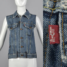 XXS 2000s Levis LVC Cotton Denim Vest Pockets Belt Loops Halloween Horror Print