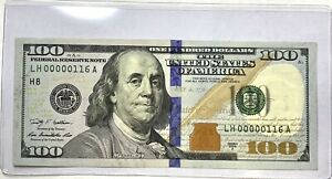 Rare Low Serial Number 2009A - $100 Bill LH 00000116 A LQQK! Hundred Dollar Bill