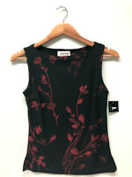 A. Byer Women Sleeveless Top Glitter Black Floral Red Stretch New Size S