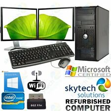 Cheap Dual Screen 2X Monitor Tower Computer Full Set PC WiFi Fast Windows 10 PRO