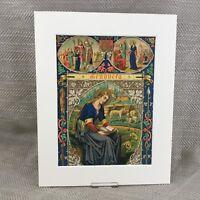 Antico Religioso Stampa Icon San Genevieve Illuminato Art 19th Secolo
