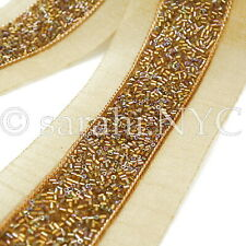 Bronze Copper Gold Beaded Fabric Trim trimming,Embellishment,co stume,pageant,Art
