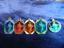 LOT OF 5  ENAMEL VINTAGE SAINT CHRISTOPHER MEDALS  UNUSED OLD FACTORY STOCK C