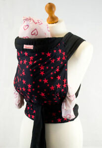 Palm & Pond Baby Mei Tai Sling - Black with Red Stars Pattern