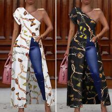 Womens Summer One Shoulder Blouse Beach Long Maxi Tops Floral Printed Shirt Plus