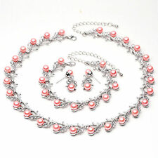 Fashion Women Bridal Jewelry Sets Pearls Crystal Necklace Earring Bracelet Set