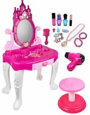 Toddler Kid Pretend Play Vanity Mirror Table Chair Cosmetic Makeup Toy for Girls