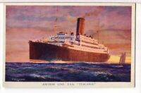 T.S.S. TUSCANIA Underway 1915 - 1918 The Anchor Line Ocean Liner Postcard