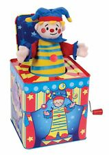 Silly Circus Clown Musical Jack In The Box Tin Toy Brightly Painted Circus T...