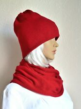 Hand made 100% cashmere women's hat & snood scarf set