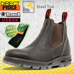 Redback USBOK Work Boots. Steel Toe Cap Safety. Elastic Sided Bobcat Oil Kip NEW