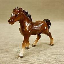 "Porcelain Horse Pony Figurine 4.5 x 3.75"" Dark Mane & Black Tail Vintage Japan"