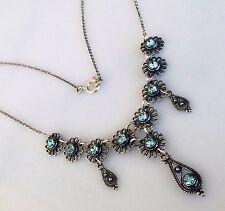 Antique Greek Aquamarine Cz Filigree Necklace Sterling Silver 925 Code 12028