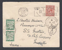 1931 KGV GB stamp on cover to P&O Ship France displaying two French postage dues