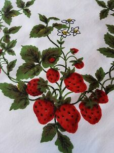 Vintage~ tablecloth Strawberries!